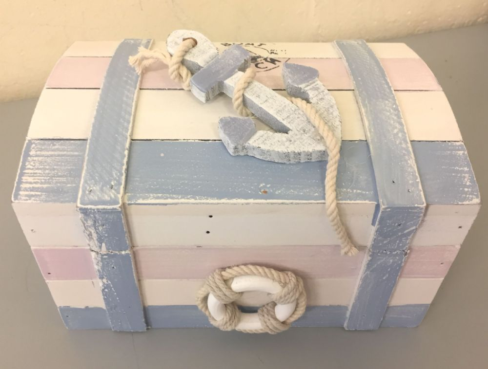 Wooden Nautical Distressed Beach Chest with Rope Handles Medium